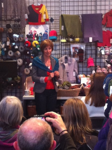 Stella Harvey discusses her knitter's work at The Beehive Wool Shop.