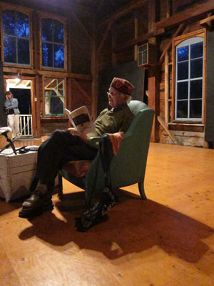 Richard Sommer reads from <i>Cancer Songs</i> in the converted barn-dance studio.